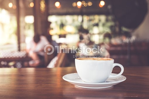 white cup hot coffee : Stock Photo