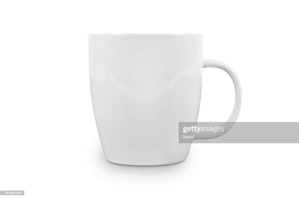Weiße Kaffeetasse mit Platz für logo-mit Schneidepfaden. : Stock-Foto