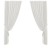 White Curtains isolated on white background. 3D render