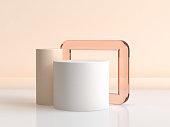 white cylinder orange glass frame 3d rendering