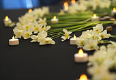 Beautiful white daffodils and candles on black background