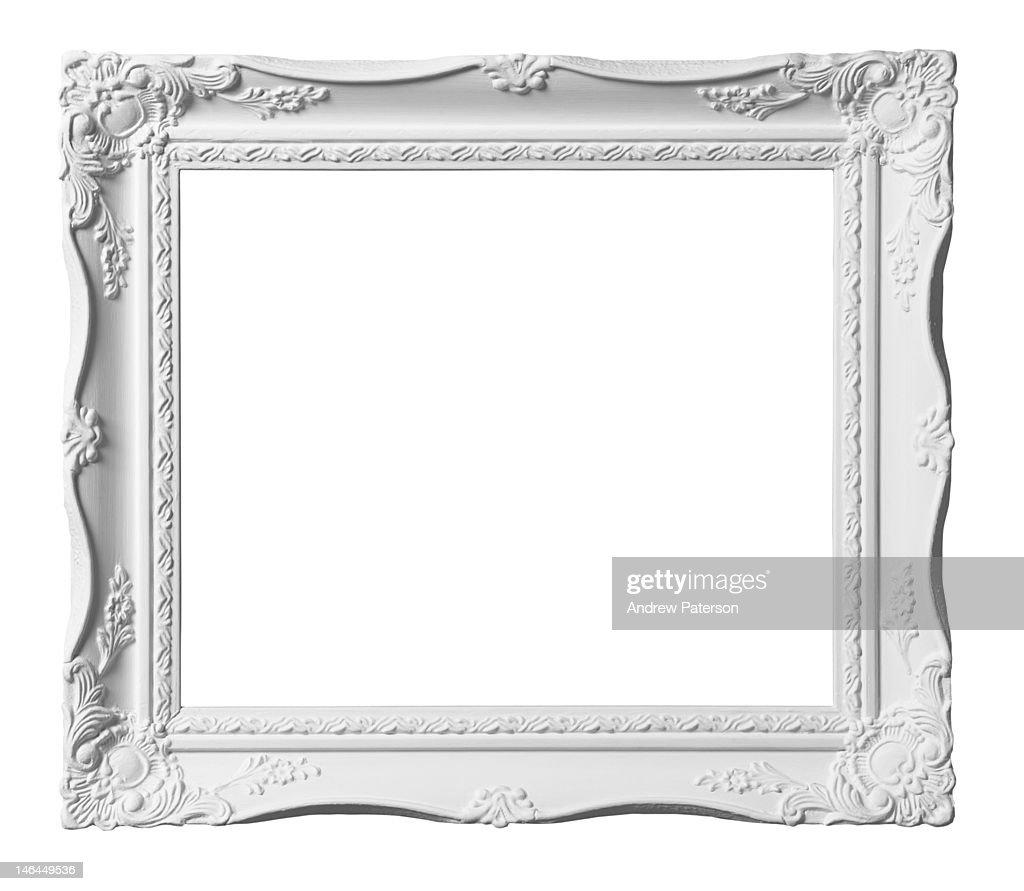 White decorative picture frame : Stock Photo