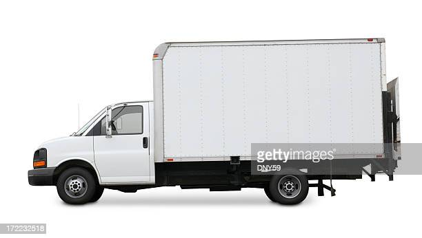 White delivery truck isolated on a white background