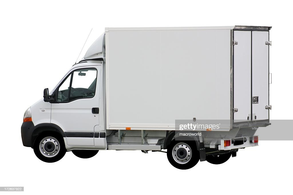 White delivery truck with box shape