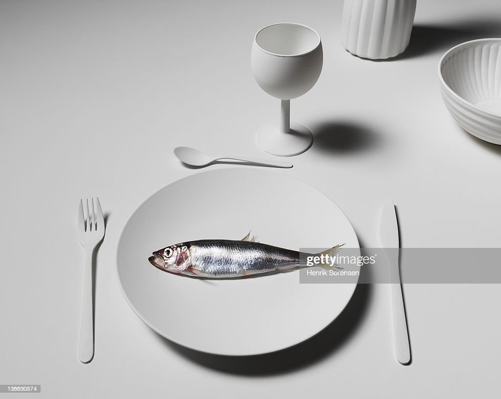 White dinner table wirth heering : Stock Photo