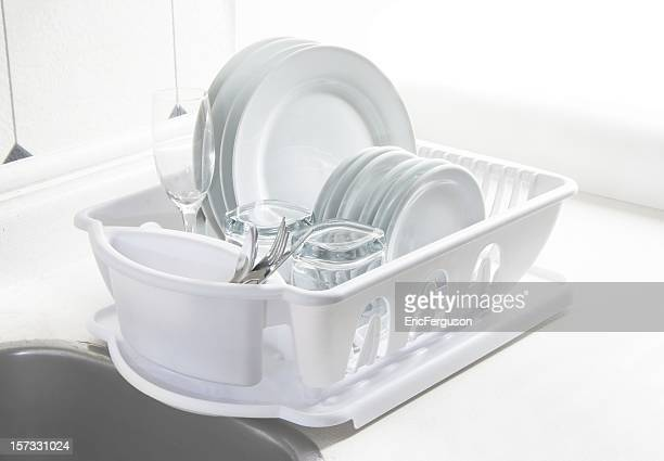 White Dishes Drying on Rack, High Key