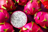 White Dragon Fruit on an old wooden table.