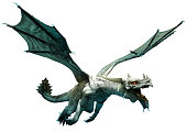 White dragon flying