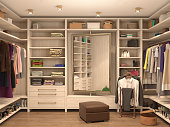 white, dressing room, interior of a modern house. 3d illustration