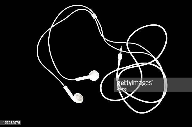 White Earbuds on Black