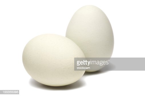 White eggs on white background