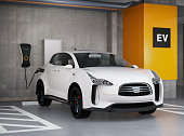 White electric SUV recharging in parking garage. 3D rendering image. original design.