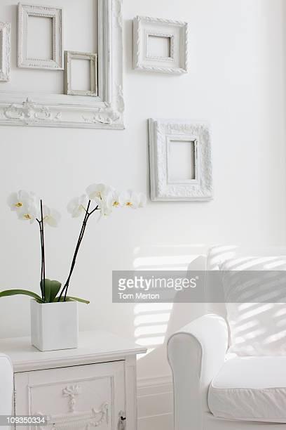 White, elegant armchair in living room