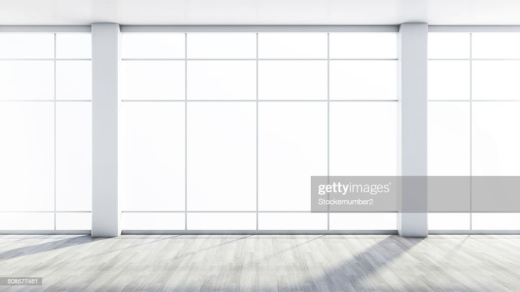 white empty interior with a large window : Stock Photo