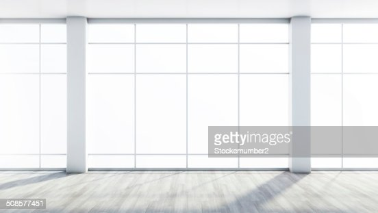 white empty interior with a large window : Stockfoto