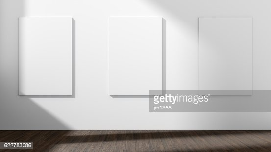 White empty room with empty three frame.3D rendering. : Stock Photo