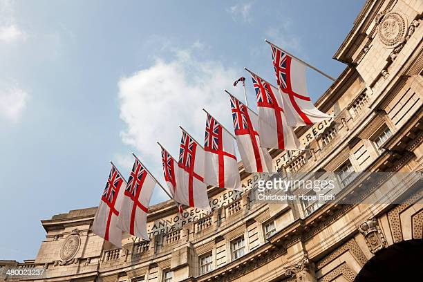CONTENT] White Ensigns hanging from the southwest face of Admiralty Arch in London to celebrate the royal wedding of William and Kate on the 29th...