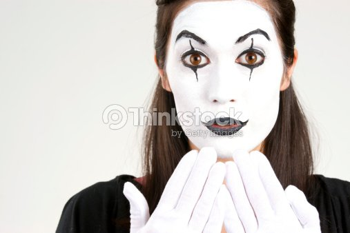 white gesicht frau in pantomime theatermakeup stock foto. Black Bedroom Furniture Sets. Home Design Ideas