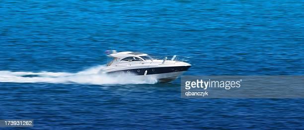 White fast speedboat.