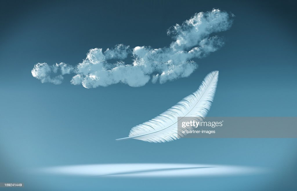 White Feather falling from the blue sky : Stock Photo