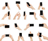 Set of white woman's hands holding and pointing on blank screen of smartphone. Isolated at white background. Online technology and communication concept