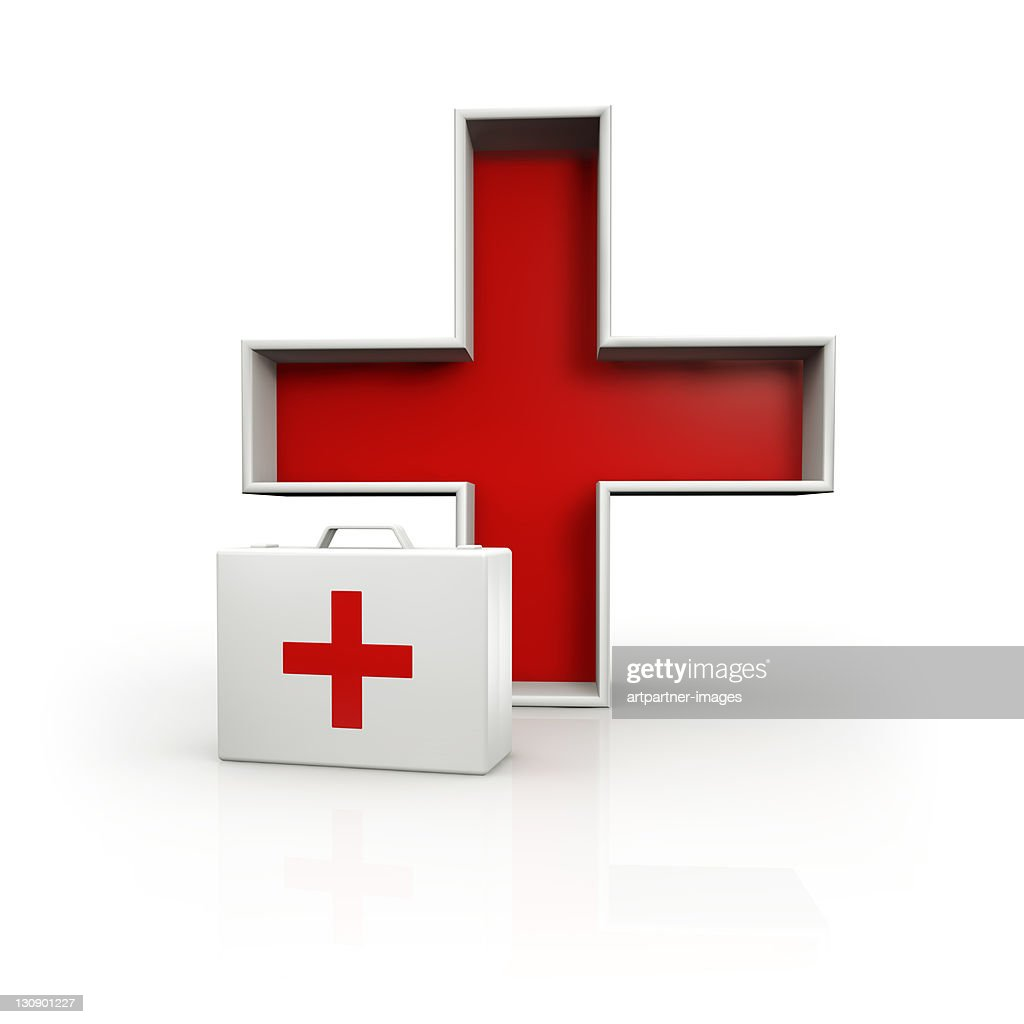 White First Aid Kit with red cross on white