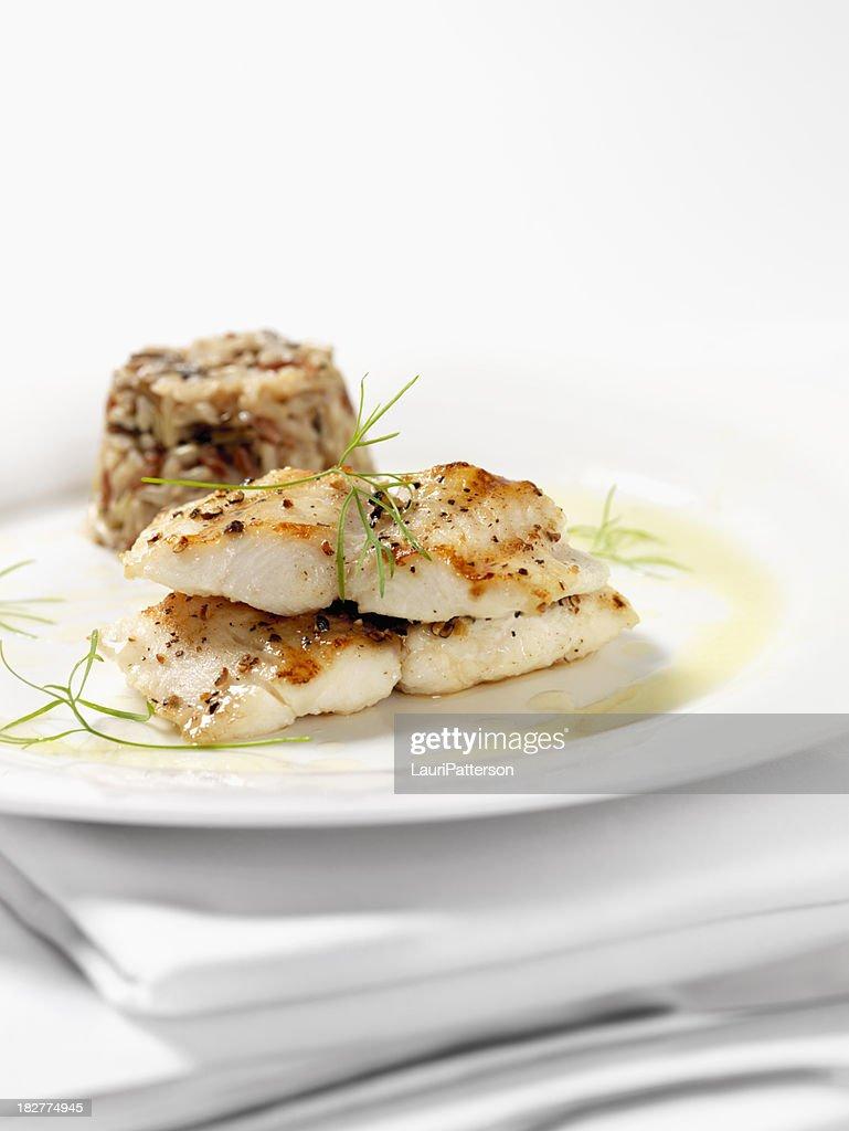 White Fish with Wild Rice & Garlic Butter Sauce