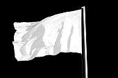 Blank white flag, isolated on black background.
