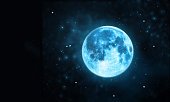 White full moon atmosphere with star at dark night sky background
