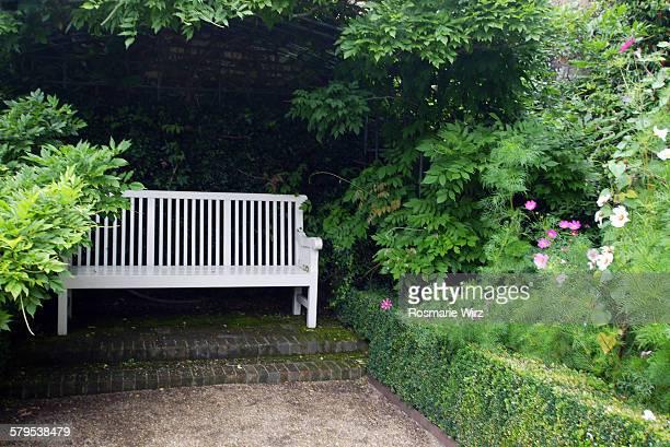 White garden bench