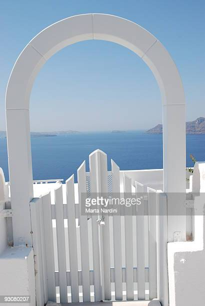 White gate above sea