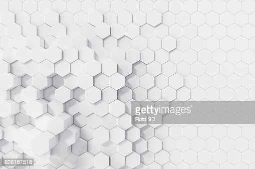 White geometric hexagonal abstract background. 3d rendering : Foto de stock