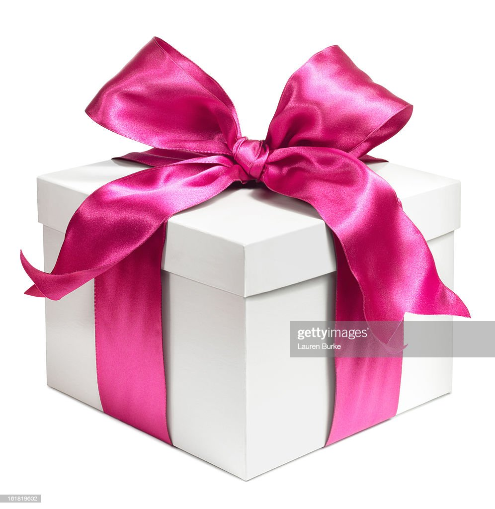 White gift wrapped in Pink bow : Stock Photo