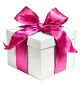 White gift wrapped in Pink bow