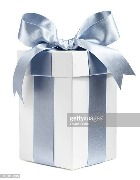 White Gift Wrapped in Silver Ribbon