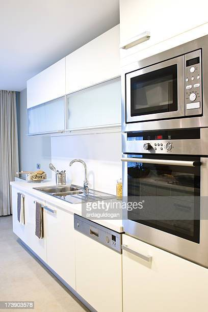 White gloss kitchen with silver appliances