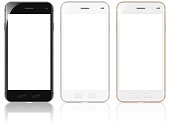 Smartphones with White Screen and Reflection