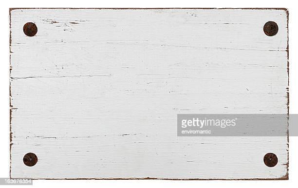 Blanco grunge de madera con cuatro pernos.