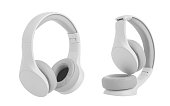 White headphones on white background.