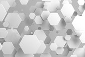 White hexagons of random size on white background. Abstract background with hexagons. Cloud of hexagons in front of wall. 3D rendering illustration