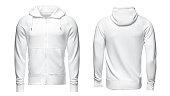 white hoodie, sweatshirt mockup, on white background