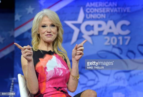 White House advisor Kellyanne Conway speaks at the Conservative Political Action Conference at National Harbor Maryland on February 23 2017 / AFP /...