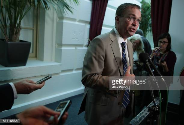 White House Budget Director Mick Mulvaney speaks to members of the media after a House Republican Conference meeting September 8 2017 at the Capitol...