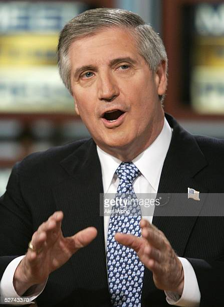 White House Chief of Staff Andrew Card gestures as he speaks on NBC's 'Meet the Press' during a taping at the NBC studios May 1 2005 in Washington DC...