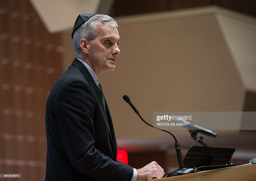 White House Chief of Staff <a gi-track='captionPersonalityLinkClicked' href=/galleries/search?phrase=Denis+McDonough&family=editorial&specificpeople=5759820 ng-click='$event.stopPropagation()'>Denis McDonough</a> addresses a 'Gathering of Solidarity and Remembrance with the People of France and Its Jewish Community' at the Adas Israel Congregation in Washington on January 13, 2015. The service was held in tribute to the 17 victims of last week's Islamist attacks in France, starting with the bloody shooting that killed 12 people at satirical weekly Charlie Hebdo on January 7, followed by separate attacks, including on a kosher supermarket, that left five more people dead.