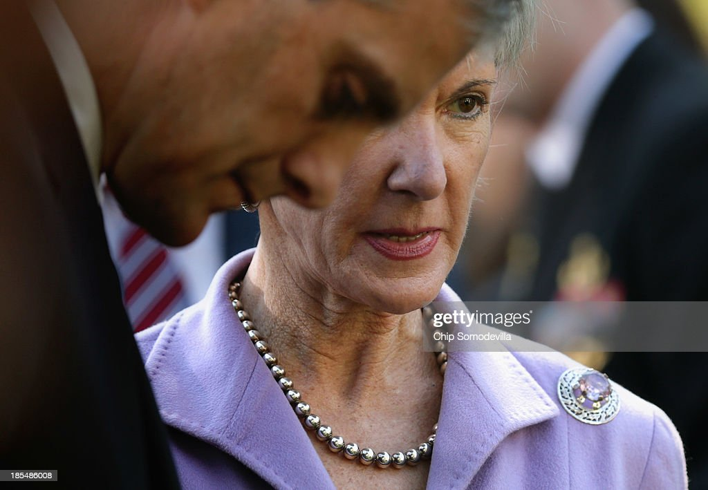 White House Chief of Staff Denis McDonough (L) and Health and Human Services Secretary <a gi-track='captionPersonalityLinkClicked' href=/galleries/search?phrase=Kathleen+Sebelius&family=editorial&specificpeople=700528 ng-click='$event.stopPropagation()'>Kathleen Sebelius</a> speak after President Barack Obama delivered a speech about the error-plagued launch of the Affordable Care Act's online enrollment website in the Rose Garden of the White House October 21, 2013 in Washington, DC. According to the White House, the president was joined by 'consumers, small business owners, and pharmacists who have either benefitted from the health care law already or are helping consumers learn about what the law means for them and how they can get covered. 'Despite the new health care law's website problems, Obama urged Americans not to be deterred from registering for Obamacare because of the technological problems that have plagued its rollout.