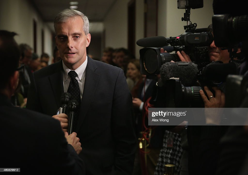 White House Chief of Staff <a gi-track='captionPersonalityLinkClicked' href=/galleries/search?phrase=Denis+McDonough&family=editorial&specificpeople=5759820 ng-click='$event.stopPropagation()'>Denis McDonough</a> arrives at a House Democratic Caucus meeting December 11, 2014 on Capitol Hill in Washington, DC. Both houses of Congress are working to avoid a government shutdown at midnight this evening as Republican efforts to pass an omnibus funding bill stalled earlier this afternoon.
