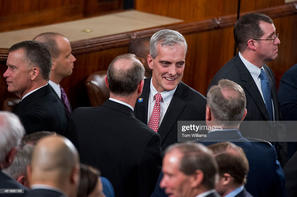 White House Chief of Staff <a gi-track='captionPersonalityLinkClicked' href=/galleries/search?phrase=Denis+McDonough&family=editorial&specificpeople=5759820 ng-click='$event.stopPropagation()'>Denis McDonough</a> greets guests in the Capitol's House chamber before President <a gi-track='captionPersonalityLinkClicked' href=/galleries/search?phrase=Barack+Obama&family=editorial&specificpeople=203260 ng-click='$event.stopPropagation()'>Barack Obama</a>'s State of the Union address, January 20, 2015.