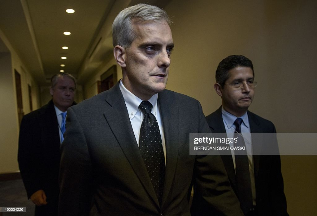 White House Chief of Staff <a gi-track='captionPersonalityLinkClicked' href=/galleries/search?phrase=Denis+McDonough&family=editorial&specificpeople=5759820 ng-click='$event.stopPropagation()'>Denis McDonough</a> leaves a meeting of House Democrats on Capitol Hill December 11, 2014 in Washington, DC. Democrats held a caucus meeting during last minute efforts to pass a $1.1 trillion spending bill which many Democrats oppose.