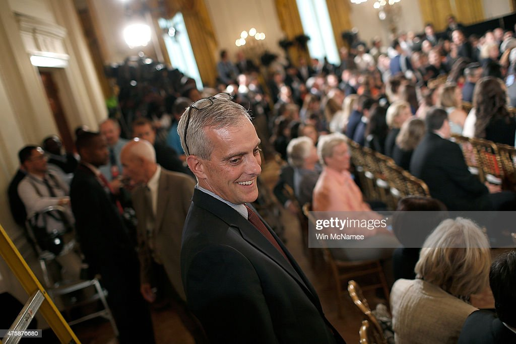 White House Chief of Staff <a gi-track='captionPersonalityLinkClicked' href=/galleries/search?phrase=Denis+McDonough&family=editorial&specificpeople=5759820 ng-click='$event.stopPropagation()'>Denis McDonough</a> speaks to members of the audience while arriving at an event welcoming the World Series Champion San Francisco Giants to the White House June 4, 2015 in Washington, DC. The Giants defeated the Kansas City Royals in last year's World Series.